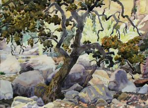 Watercolor Landscape of oak tree by stream by artist Rick DeMont