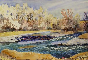 Watercolor Landscape of San Juan river by artist Rick DeMont