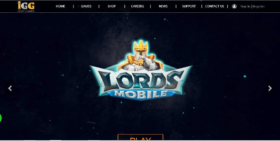 ロードモバイルの会社IGGのWebサイト