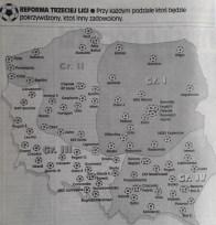 2000. Piłkarska mapa Polski na poziomie III ligi 2000-2001.