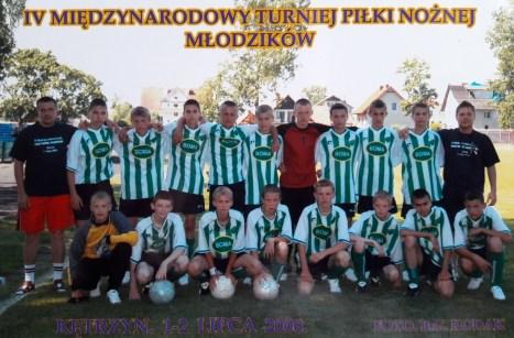 2006.IV Międzynarodowy Turniej Młodzików. Zespół Granicy z trenerami A. Narwojszem i M. Żyżykiem.