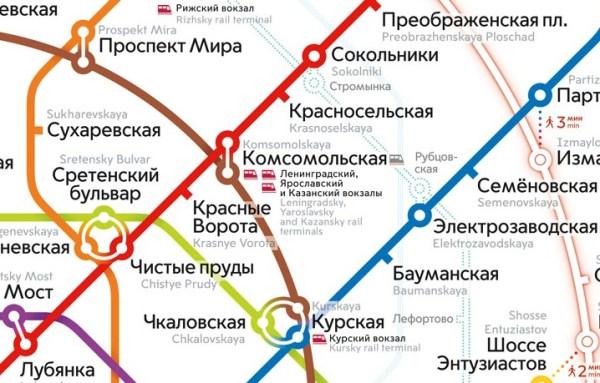 Ленинградский вокзал на карте Москвы