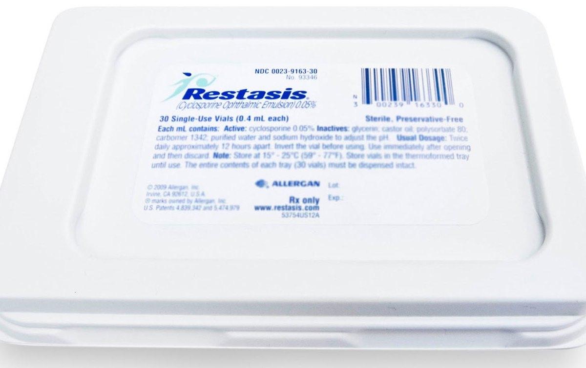Упаковка препарата «Рестасис» (Restasis, циклоспорин).