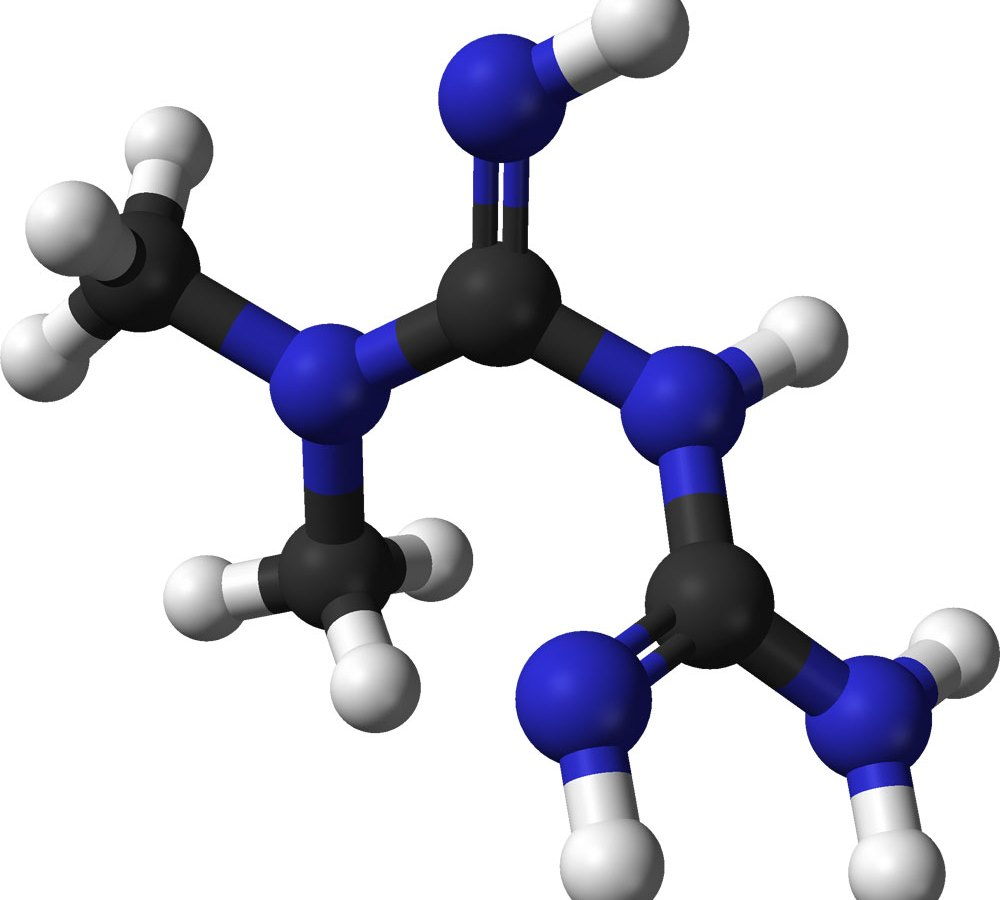 Молекулярная структура метформина.