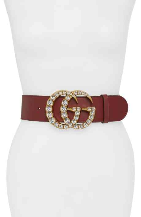Gucci GG Marmont Crystal Embellished Leather Belt Mosnar Communications