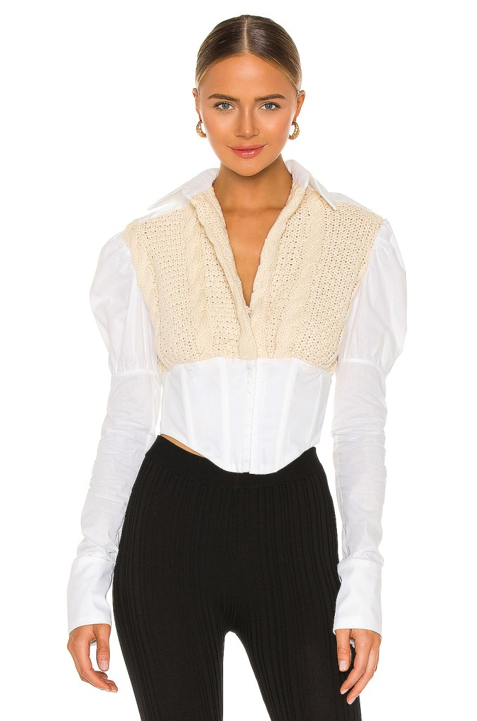 Knit-Corset-Puff-Sleeve-Shirt-Revolve-Mosnar-Communications