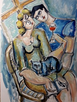 Lovers with wine and cat by Yuroz