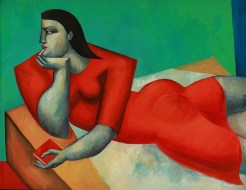 Reclining Woman in Red by Yuroz