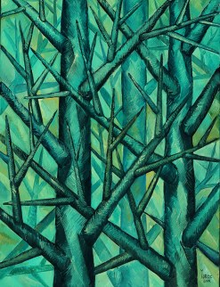 Trees in Green (study) original oil on canvas by Yuroz