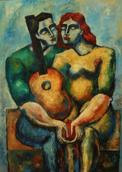 "6493 ""Dreamers with Guitar and Pomegranate"", Oil on Canvas, 65"" x 45"" (165 cm x 114 cm)"