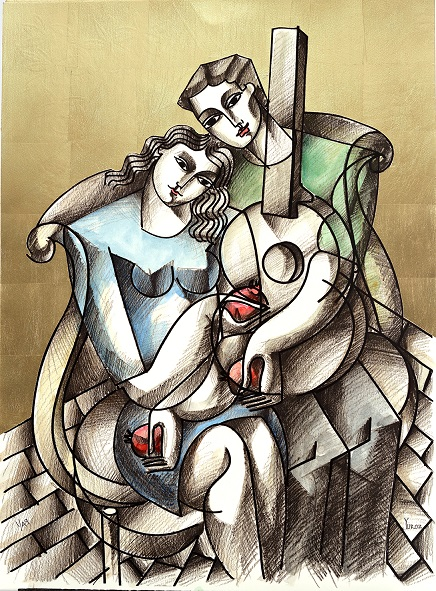 """""""Lovers with Guitar and Pomegranates"""", limited edition serigraph with 23k gold leaf on museum board, hand embellished with water color by Yuroz, 30 x 22 inches (76.2 x 55.88 cm)"""