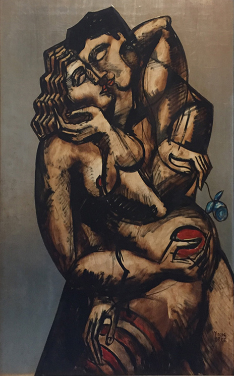 "Impassionate Caress, Mixed medium on canvas with silver leaf, 50"" x 32"" (127 cm x 81 cm)"