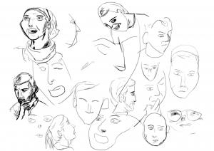 Rostros de una sesión de dibujo
