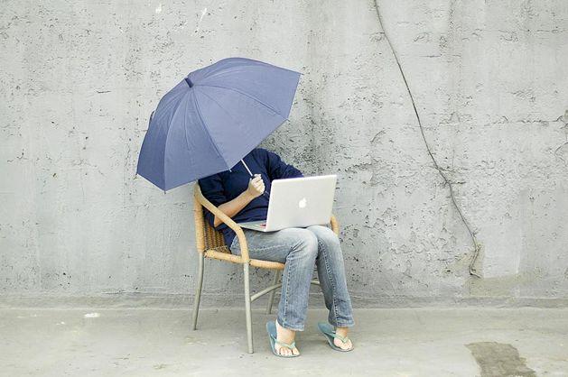 working outside laptop