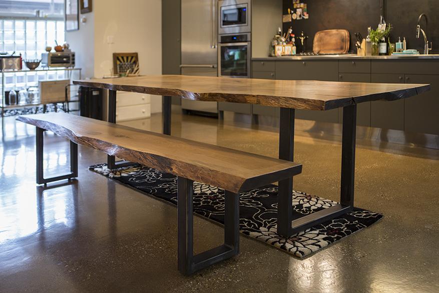 custom slab wood dining table