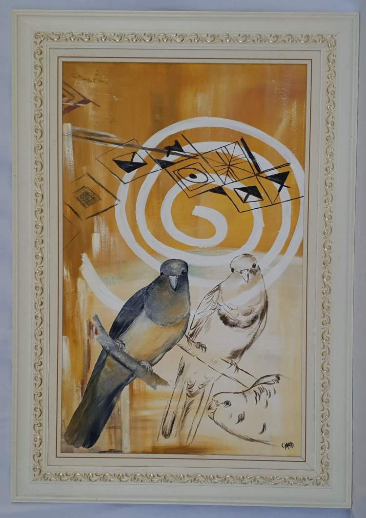 two birds with indian symbols