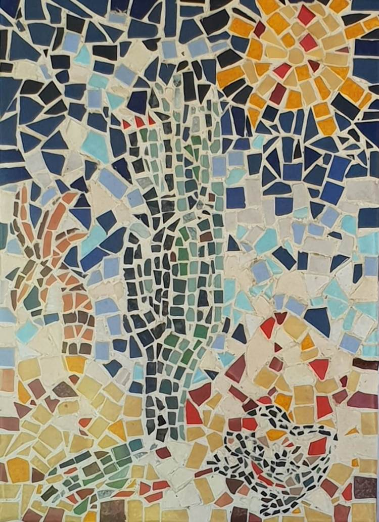 mosaic of a cactus and sun