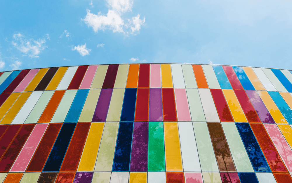 coloured tiles and blue sky for the espantion of branding and graphic design