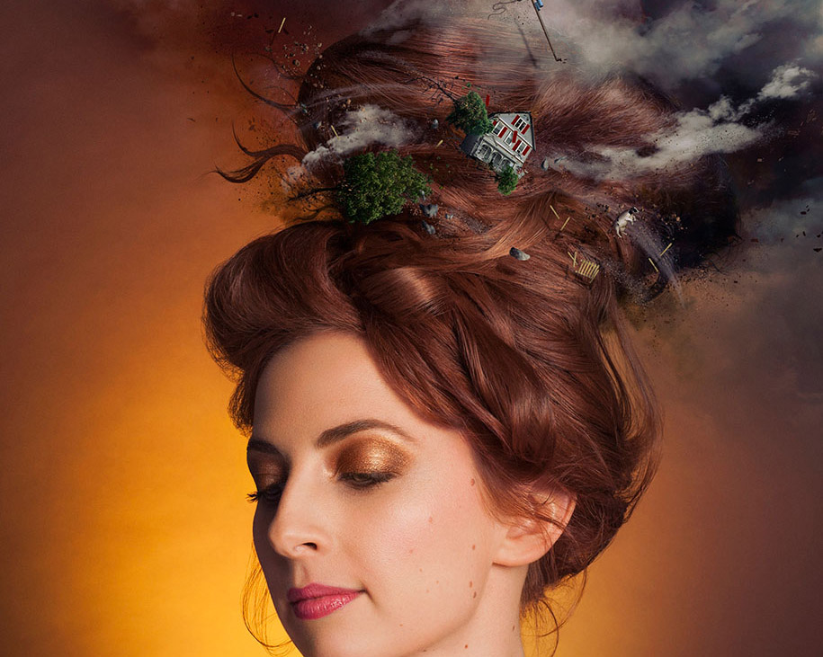 Surreal Portraits with Dramatic Scenescaped Hairstyles