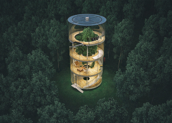 Glass Cylinder House in Kazakhstan