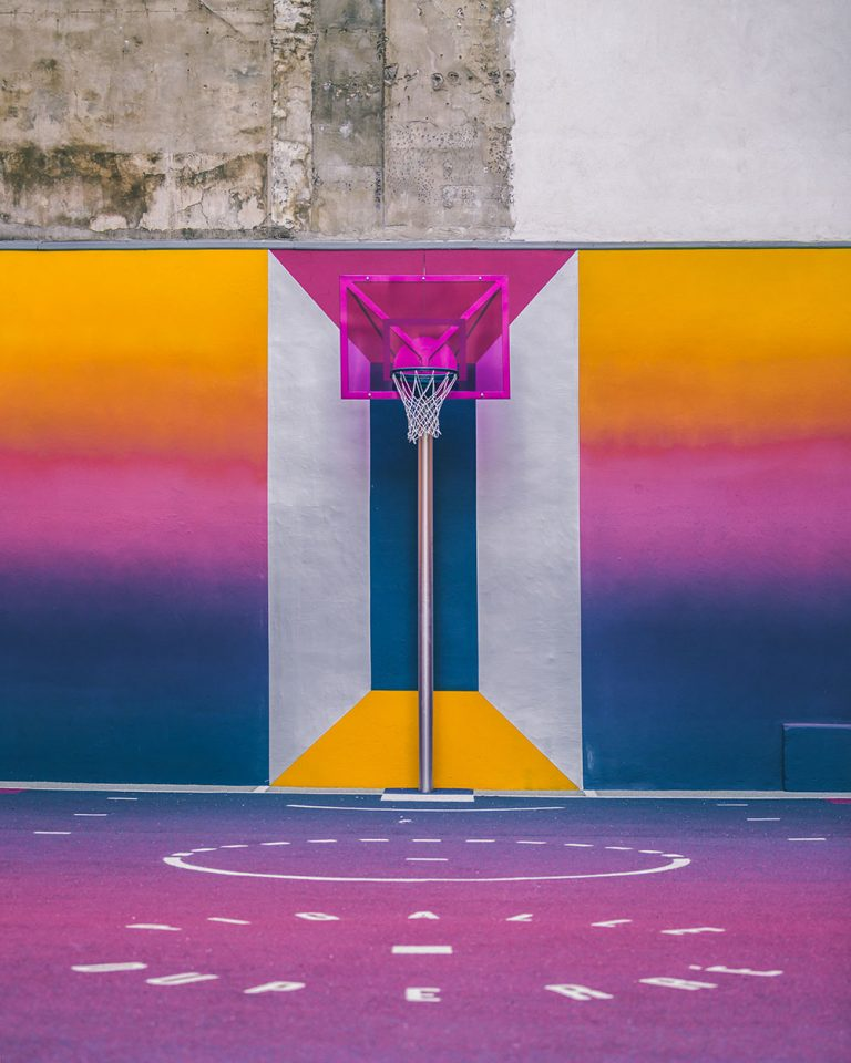 A Technicolor Basketball Court is a Slam Dunk in Paris