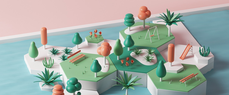 rotterdam's recycled park digital illustrations