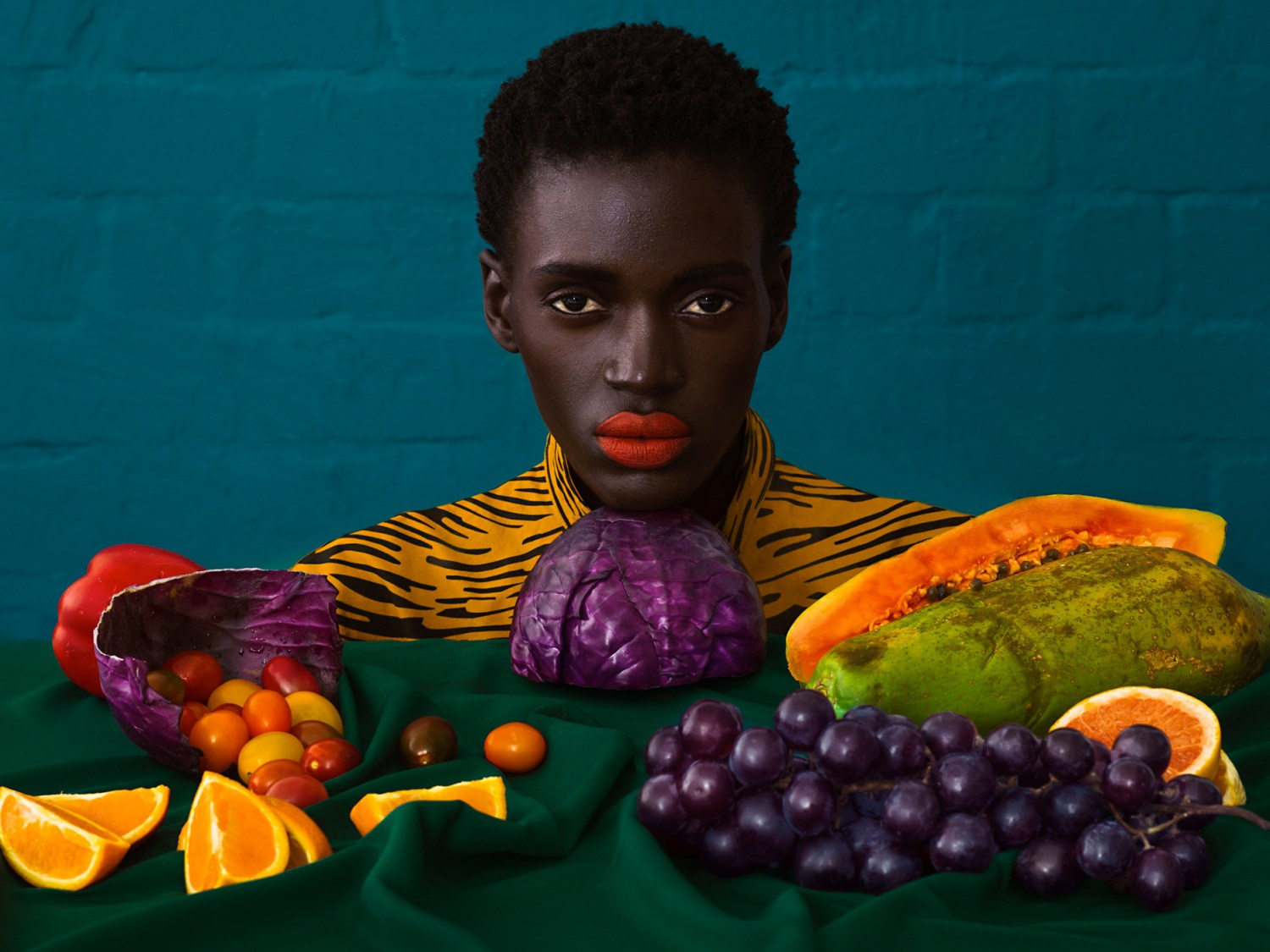 African Woman fruit photoshoot
