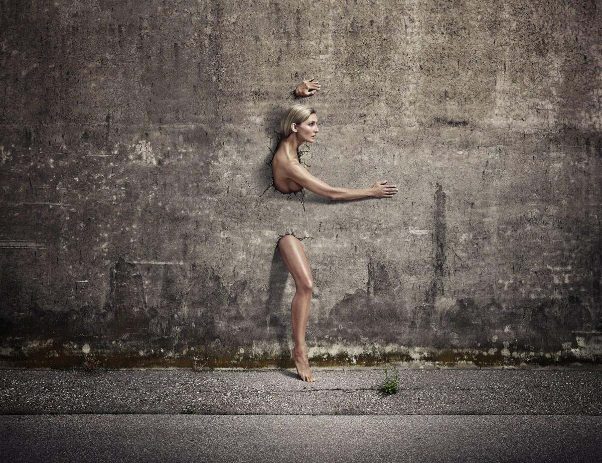 women crashing through concrete