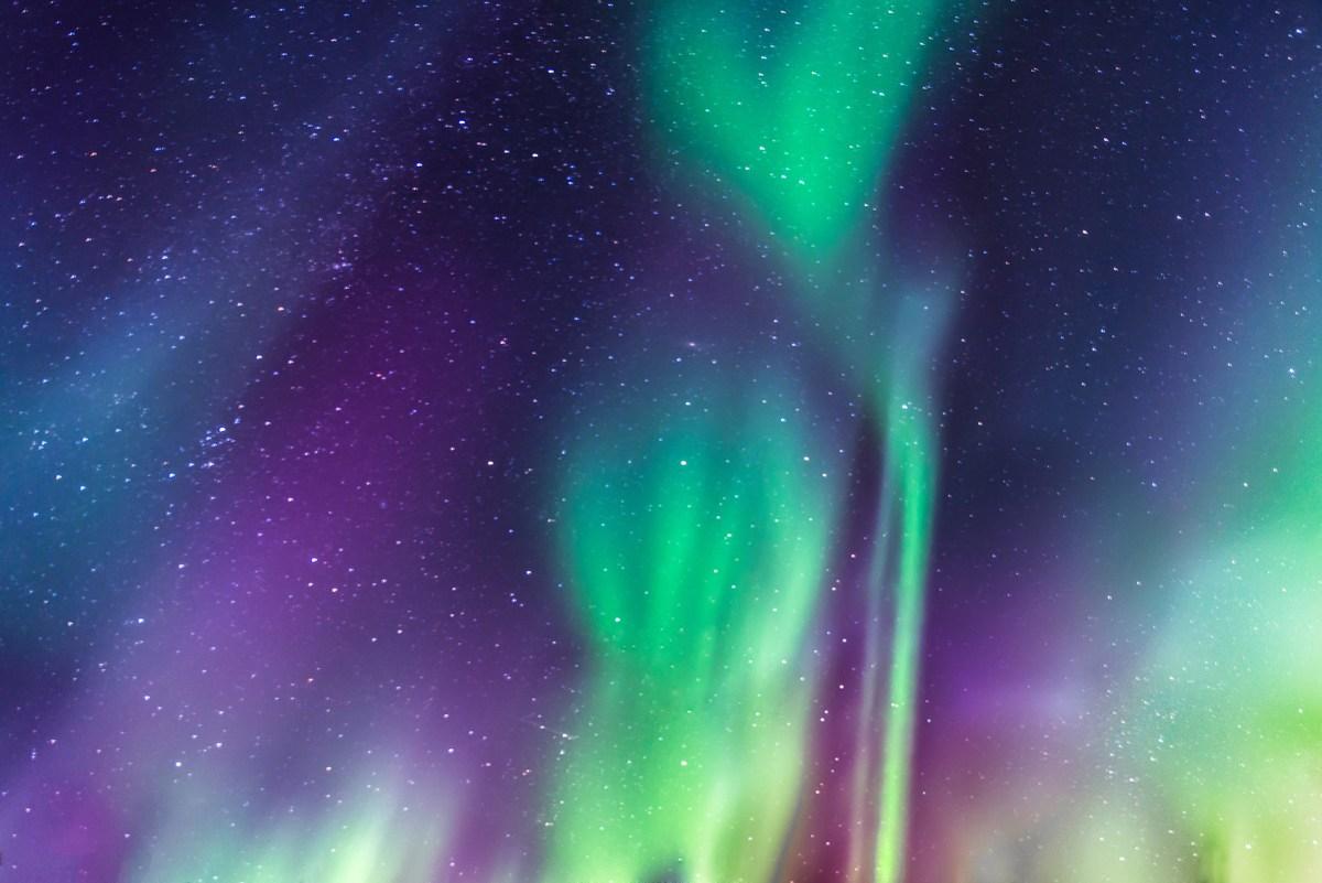 Aurora Borealis on a starry sky