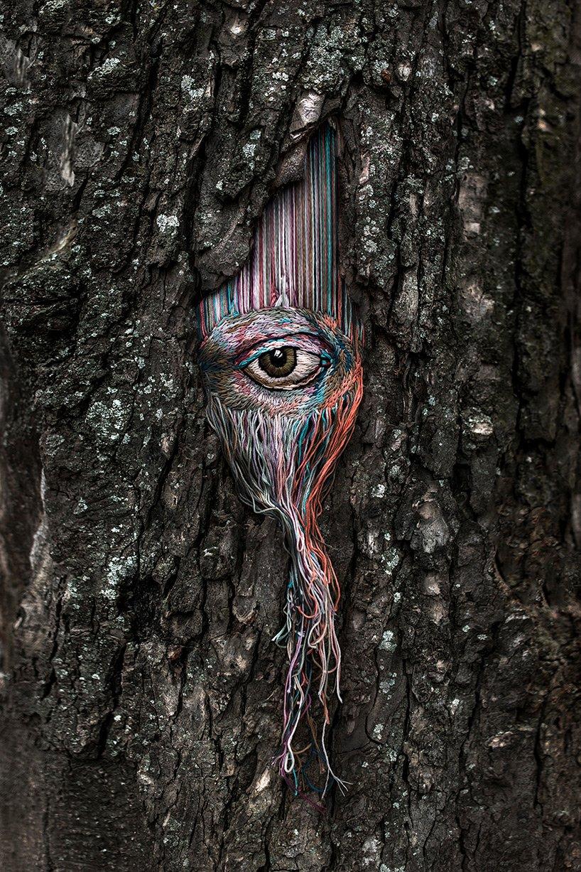 embroidered art on tree scars