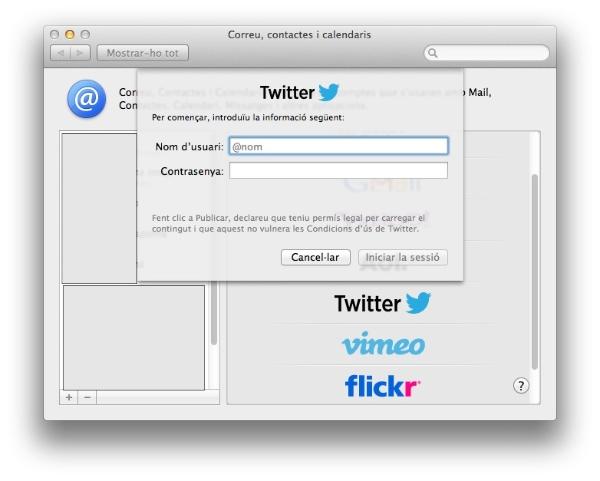 configuració alta twitter a preferències sistema mac os x mountain lion