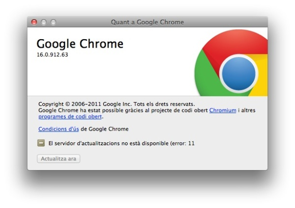 Google Chrome Update error 11