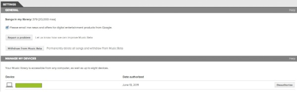 Google Music Beta - Reproductor Web - Opcions Configuració