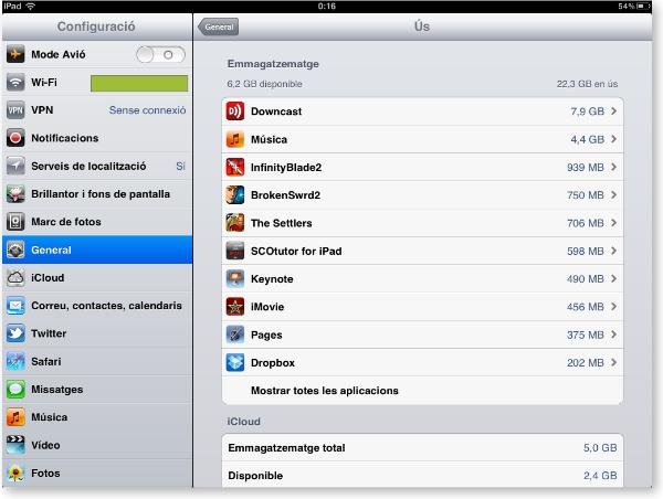 espai ocupat per Apps a l'iPad