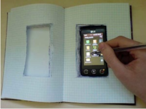 Phone on a book