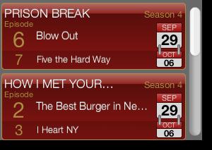 TV show tracker widget