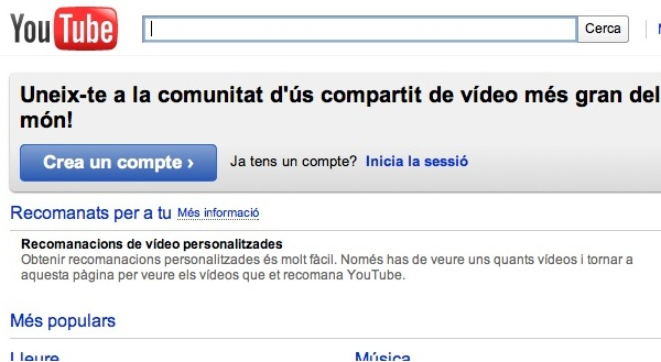 YouTube en català