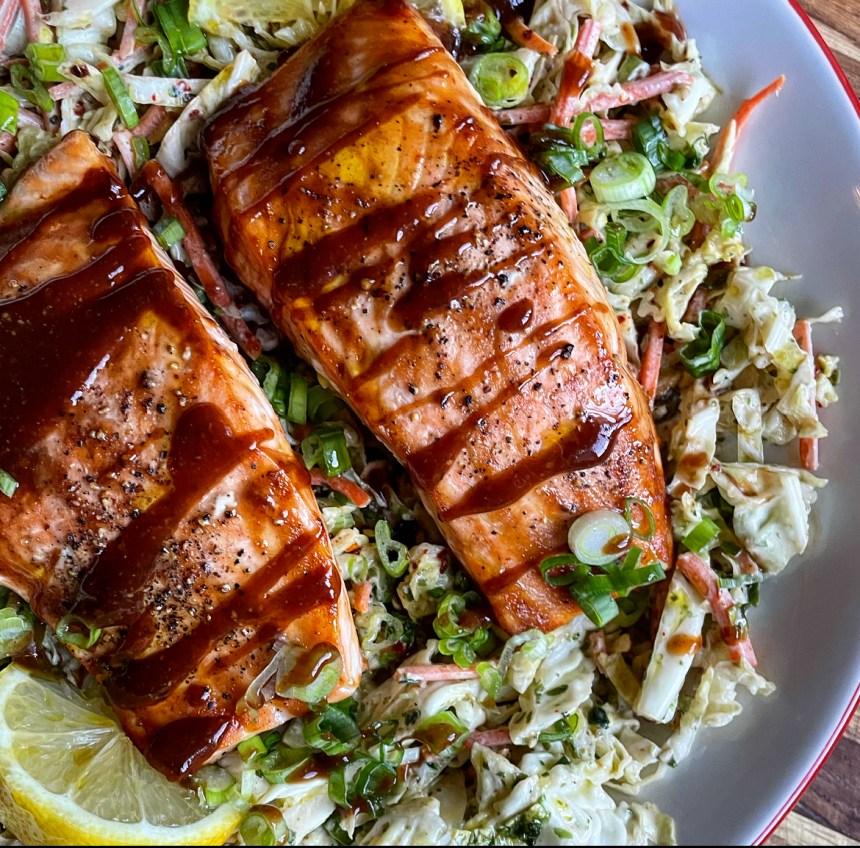 Tonkatsu Glazed Salmon with Creamy Miso Slaw