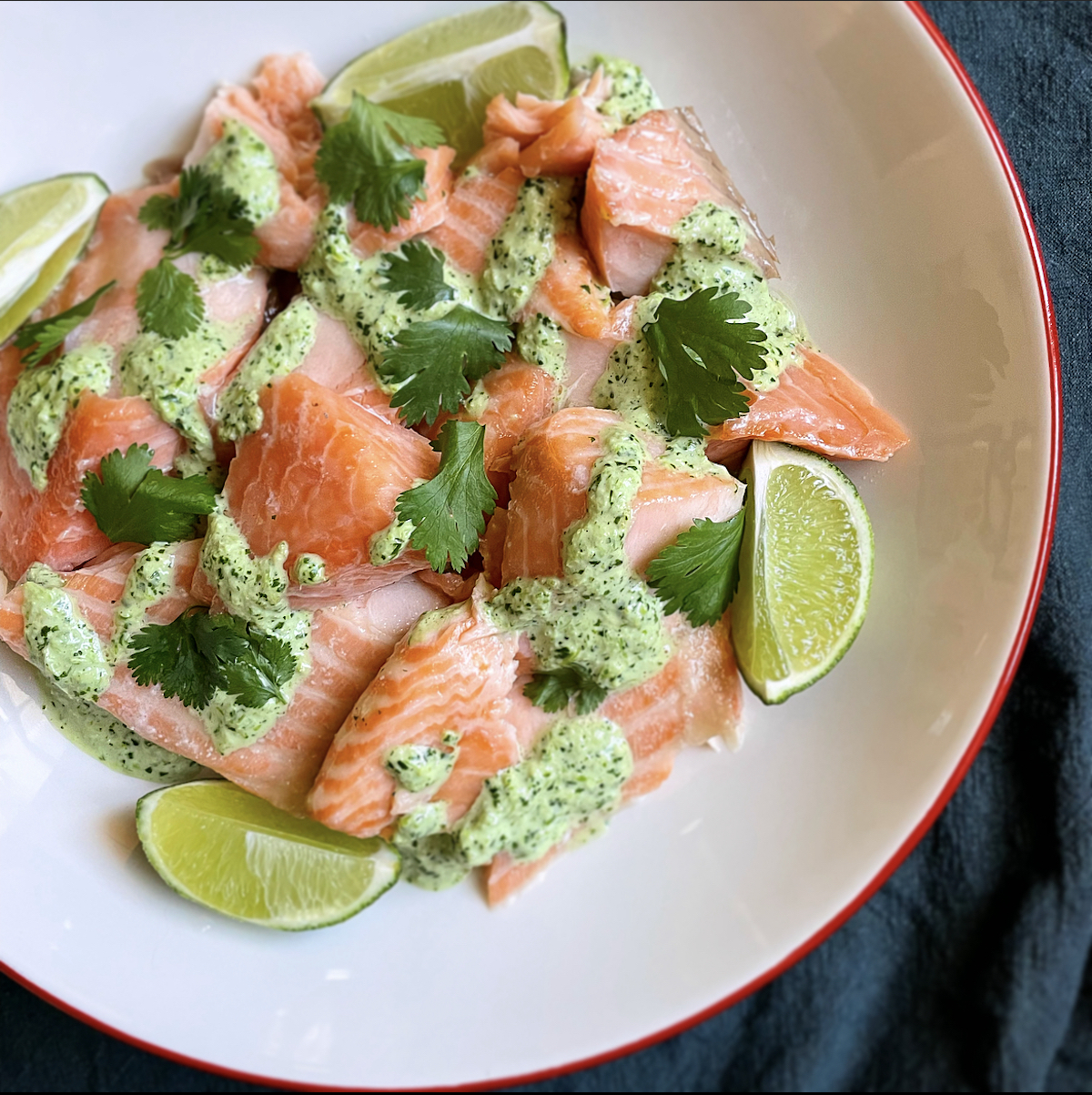slow roasted salmon with aji verde