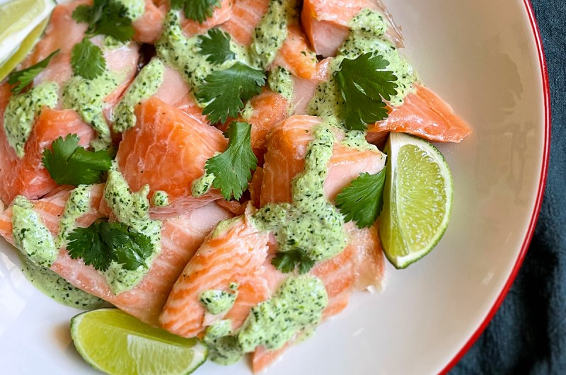 Cold Slow Roasted Salmon with Aji Verde