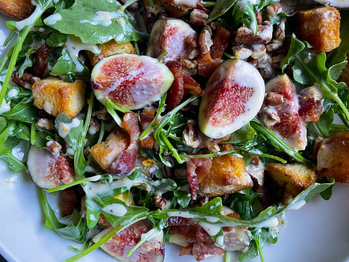 fig salad with bacon, pecans, and miso dressing.