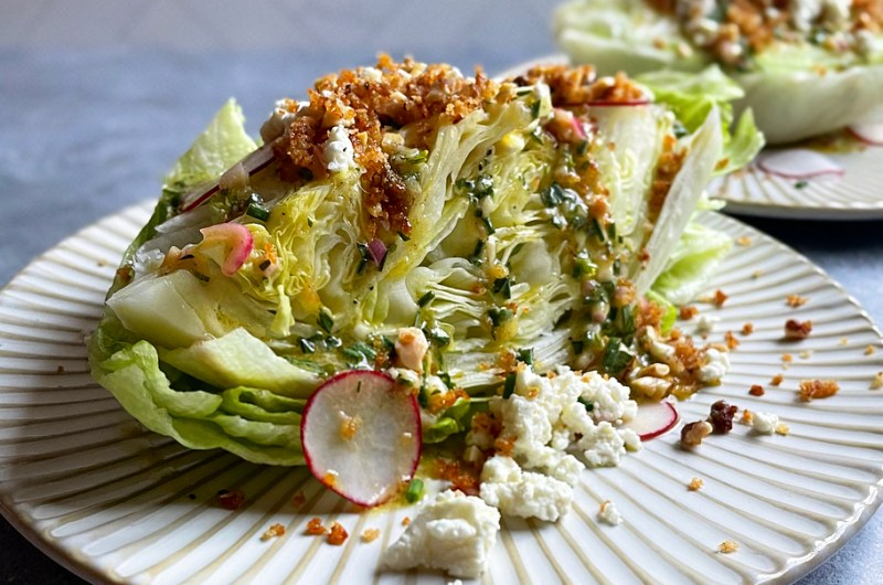Wedge Salad with Sheep's Milk Cheese, Anchovy Breadcrumbs, and Tarragon Vinaigrette