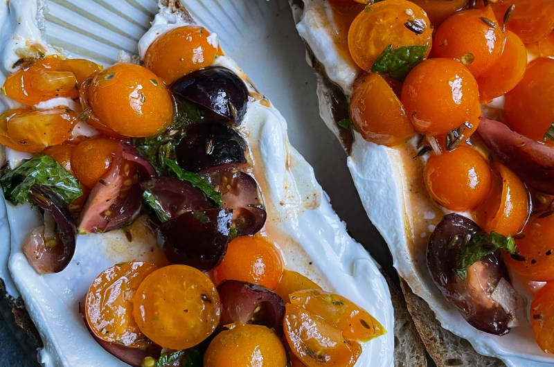 Tomato Tartine with Labneh, Toasted Cumin, Lime, and Mint