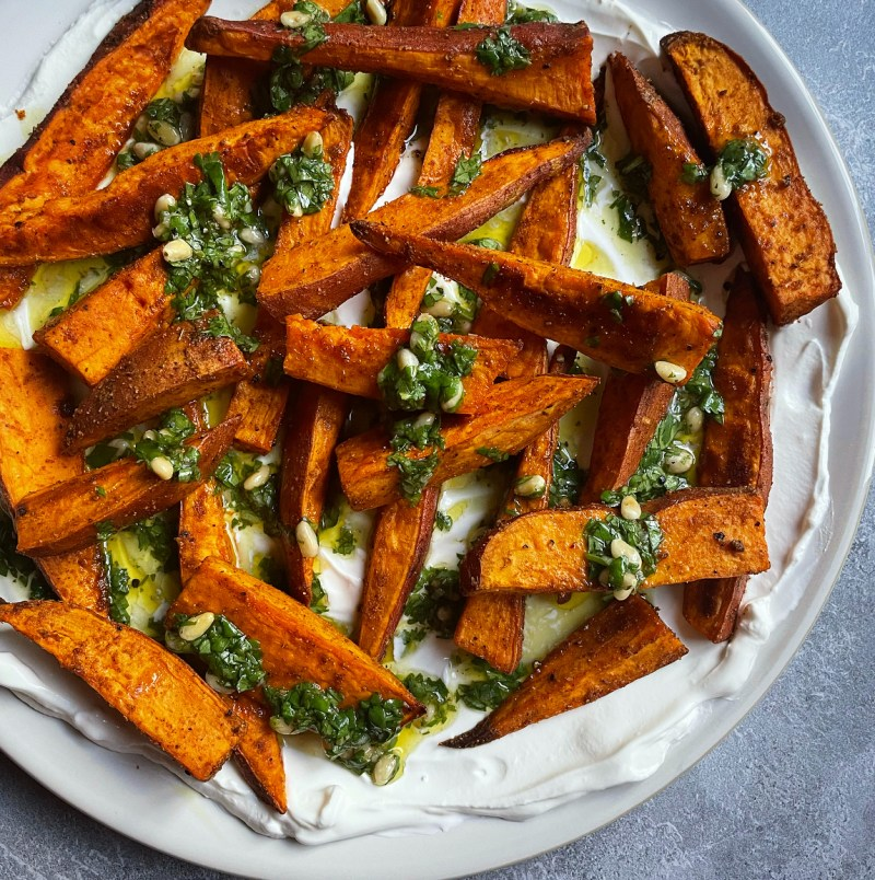 roasted sweet potatoes with cilantro lime gremolata