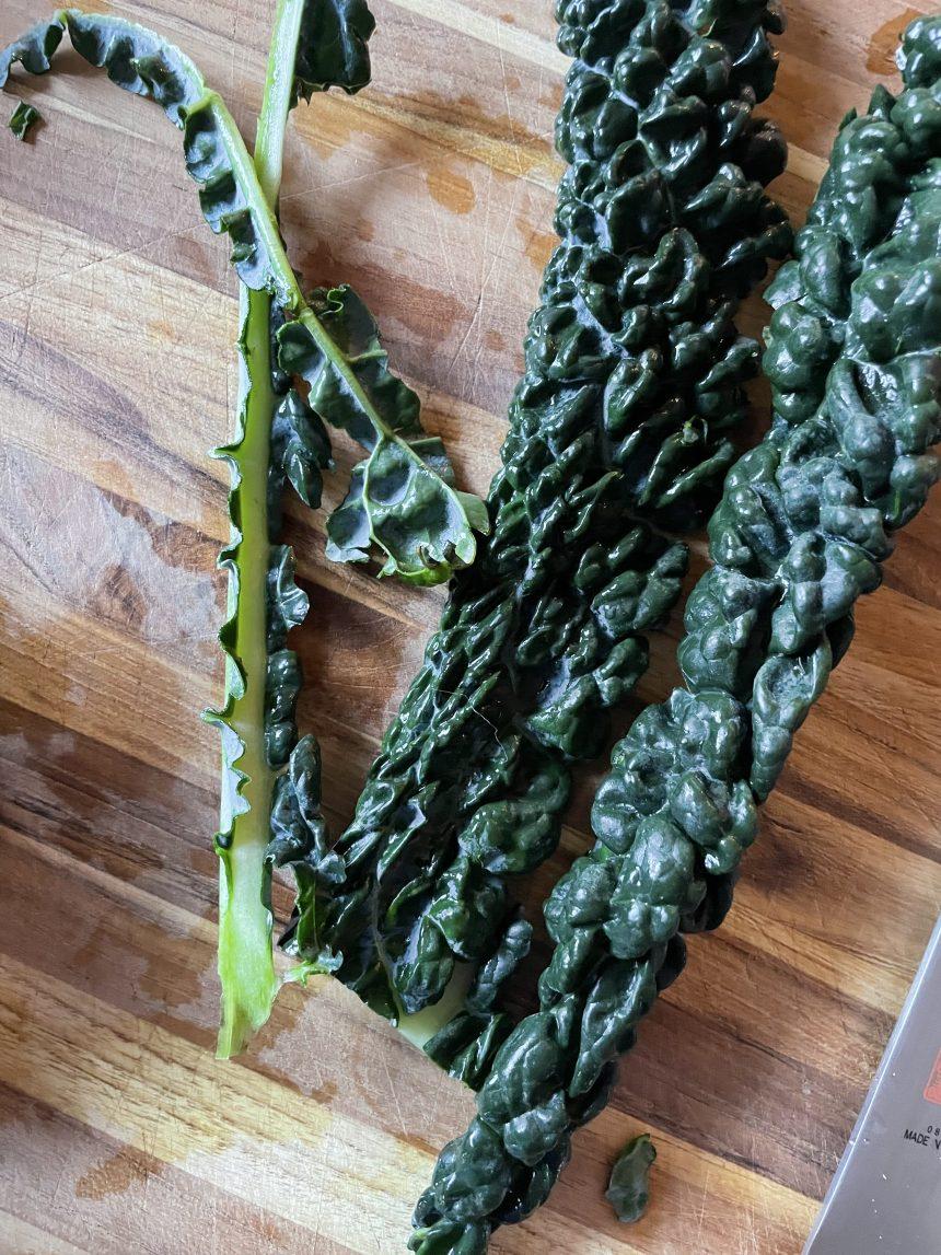 removing kale stems