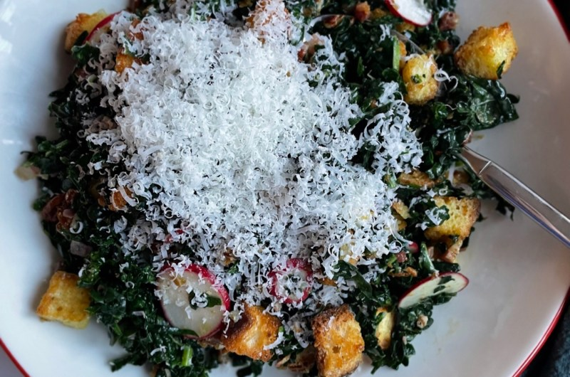 Kale Salad with Pancetta, Brioche, and Pecans