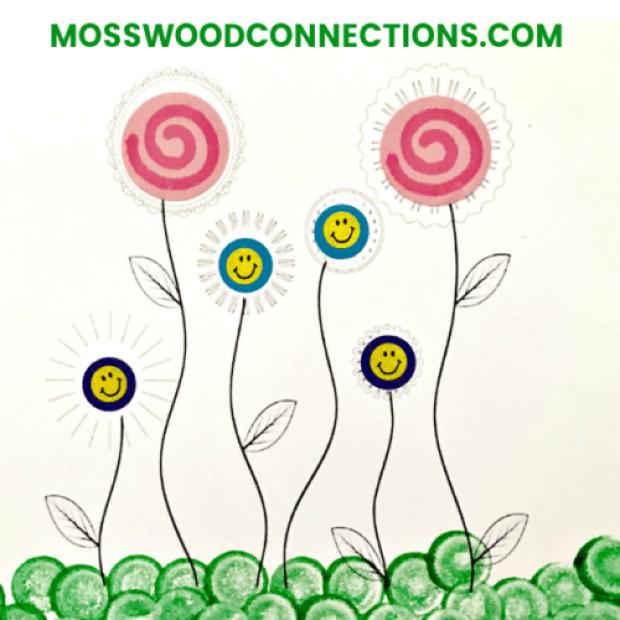 Sticker and Dot Marker Art Fine Motor Fun Flowers