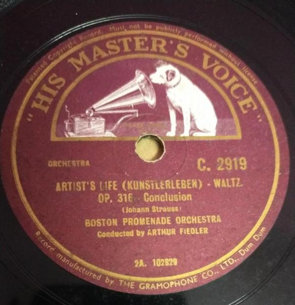 Artist's Life ( Kunstlerleben ) Waltz 78 RPM Record by Arthur Fiedler C 2919 www.mossymart.com