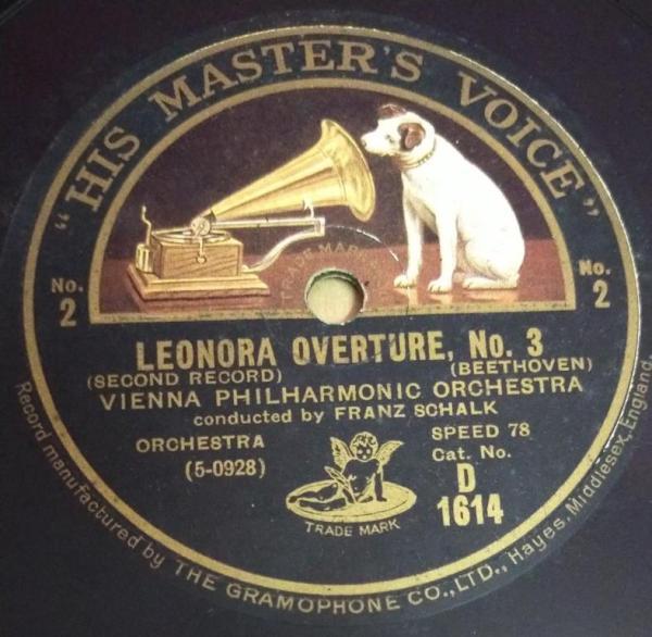 Leonaor Overture Vienna Philharmonic Orchestra 78 RPM Record by Franz Sohalk D 1614 www.mossymart.com