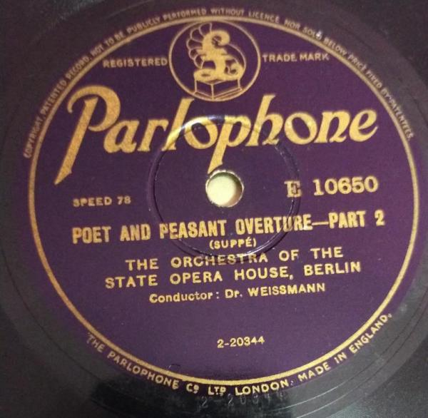 Poet and Peasant Overture Part 1 78 RPM Record by Dr Weissmann 10650 www.mossymart.com